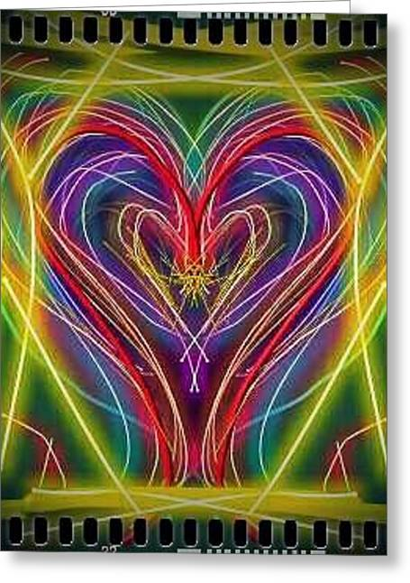 Neon Heart Greeting Card by Denisse Del Mar Guevara