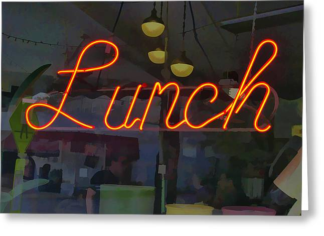 Neon Lunch Sign Greeting Card by Michael Flood