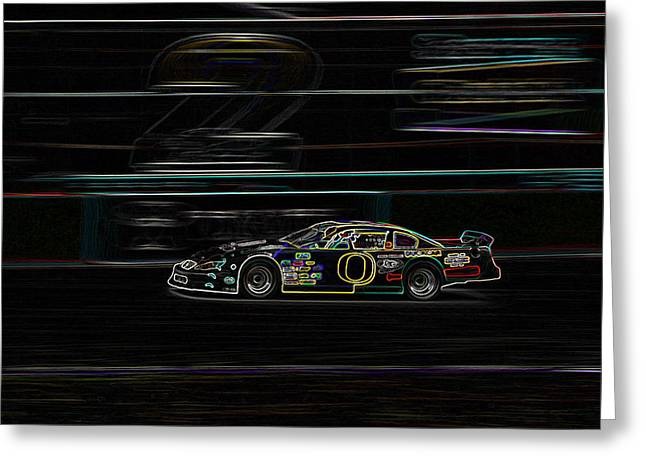 Greeting Card featuring the photograph Neon Nascar by Tyra  OBryant