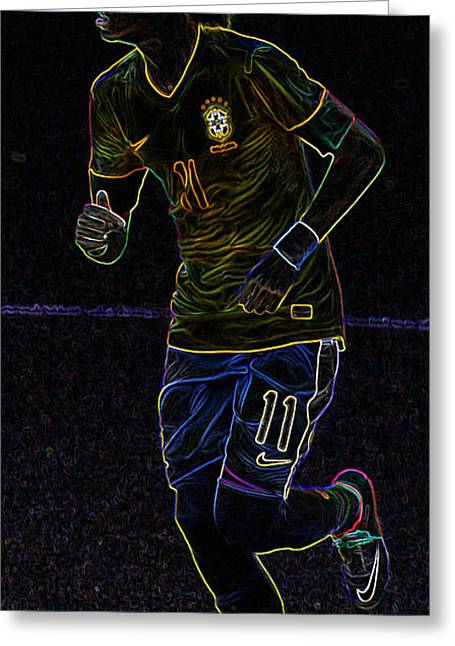 Neon Neymar II Greeting Card by Lee Dos Santos