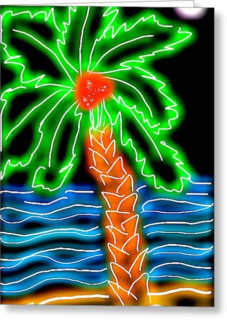 Neon Palm Beach Greeting Card by Cara Surdi