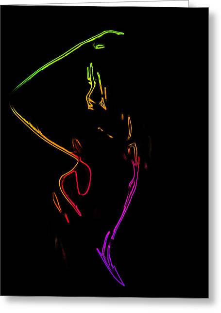 Neon Shower Girl Greeting Card by Steve K