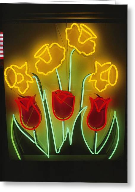 Neon Tulips And Irises Brighten Greeting Card by Stephen St. John