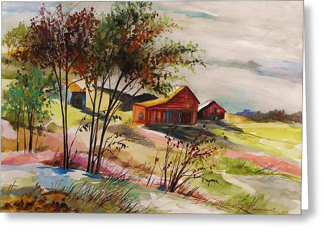 Nestled Nearby Barns Greeting Card by John Williams