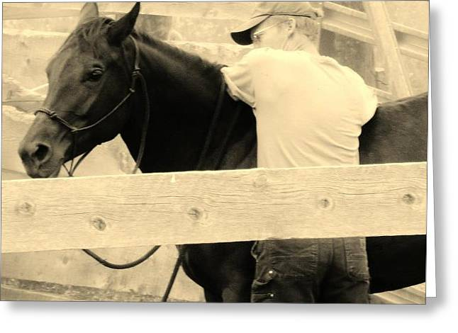 New Age Cowboy Greeting Card by Virginia Lei Jimenez