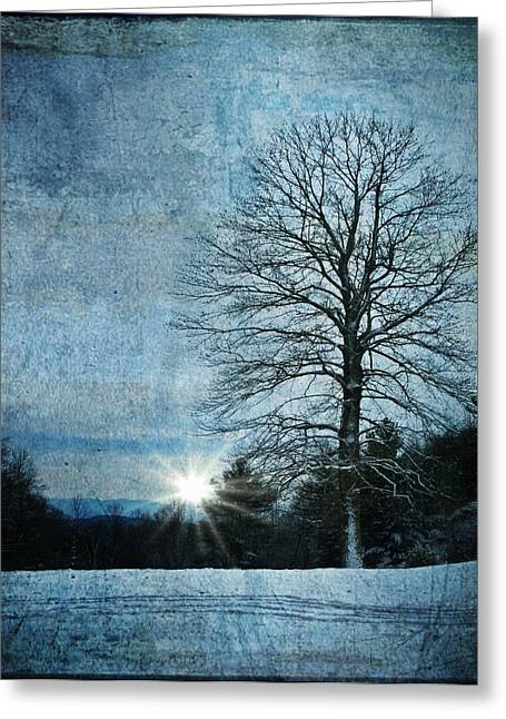 New Blue Sunrise Greeting Card by Christine Annas