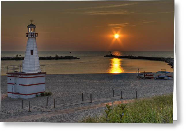 New Buffalo City Beach Sunset Greeting Card