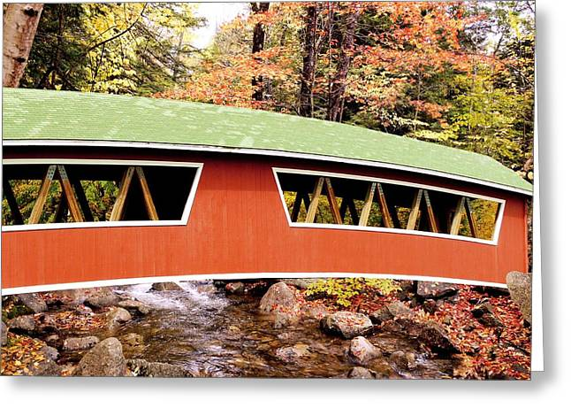 New England Covered Bridge Greeting Card by Tony Craddock
