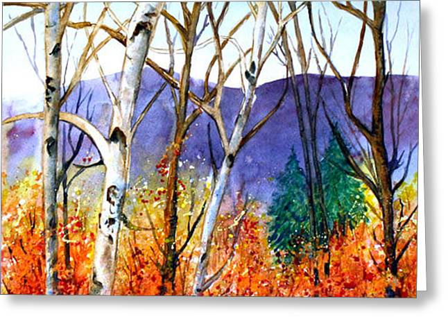 Greeting Card featuring the painting New England Fall by Priti Lathia