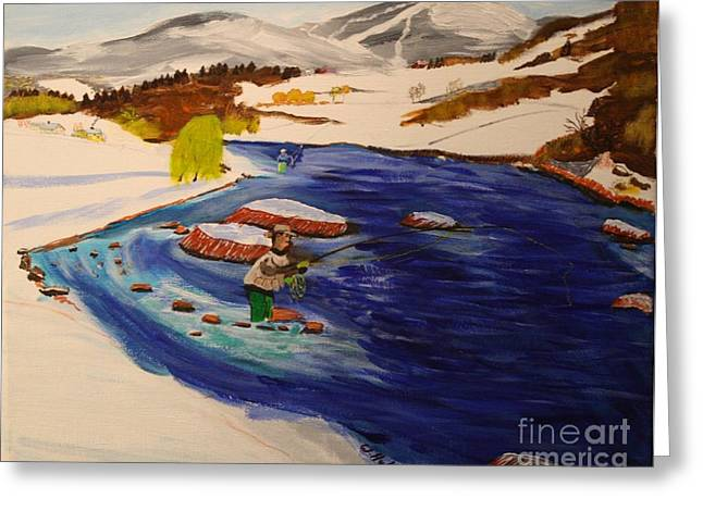 New Hampshire Springtime - Skiing And Trout Fishing In The White Mountains Greeting Card by Bill Hubbard