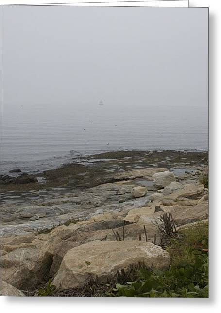 New London Ledge Light In The Dense Fog Greeting Card by Todd Gipstein
