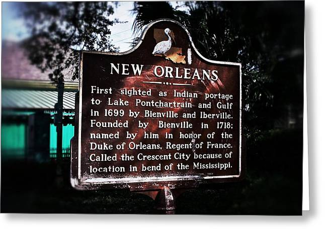Greeting Card featuring the photograph New Orleans History Marker by Jim Albritton