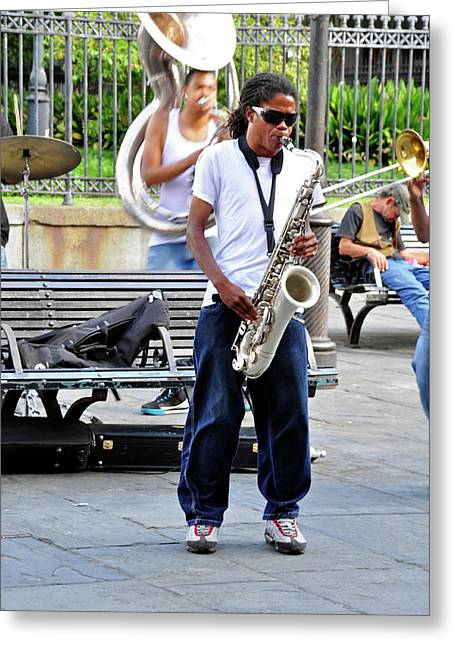 Greeting Card featuring the photograph New Orlean's Musician by Helen Haw