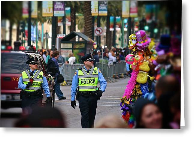 Greeting Card featuring the photograph New Orleans Police At Mardi Gras by Jim Albritton