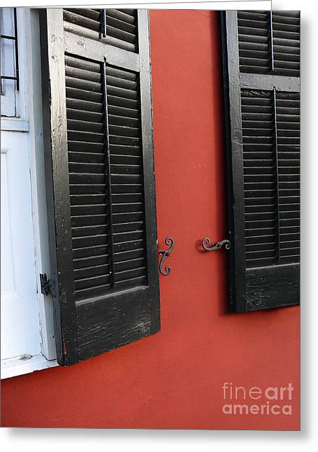 Greeting Card featuring the photograph New Orleans Shutters by Jeanne  Woods