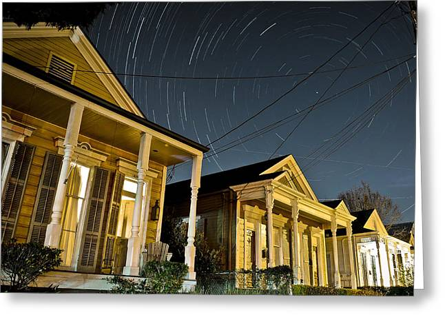 Greeting Card featuring the photograph New Orleans Star Trails by Ray Devlin