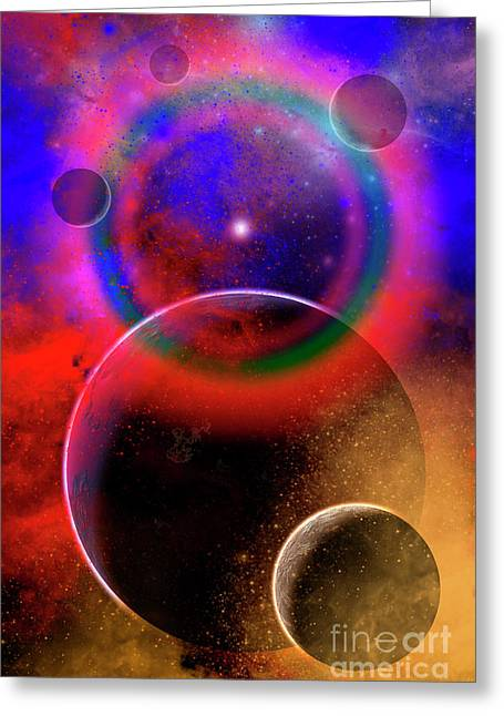 New Planets And Solar Systems Forming Greeting Card by Mark Stevenson