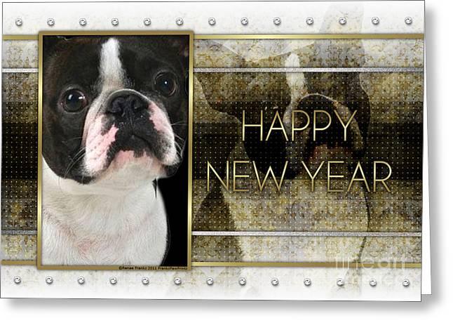 New Year - Golden Elegance Boston Terrier Greeting Card