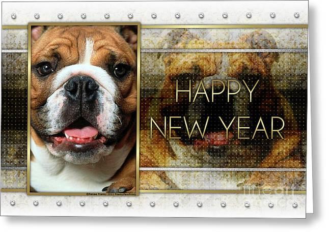 New Year - Golden Elegance Bulldog Greeting Card by Renae Laughner