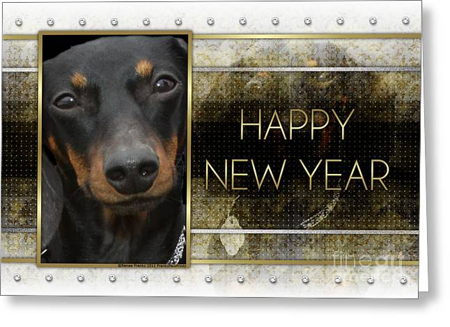New Year - Golden Elegance Dachshund Greeting Card by Renae Laughner