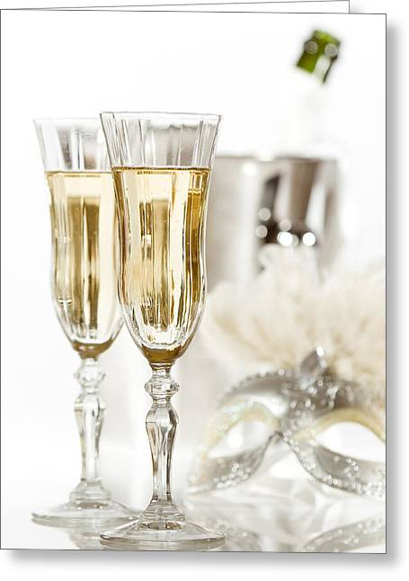 New Year Champagne Greeting Card by Amanda Elwell