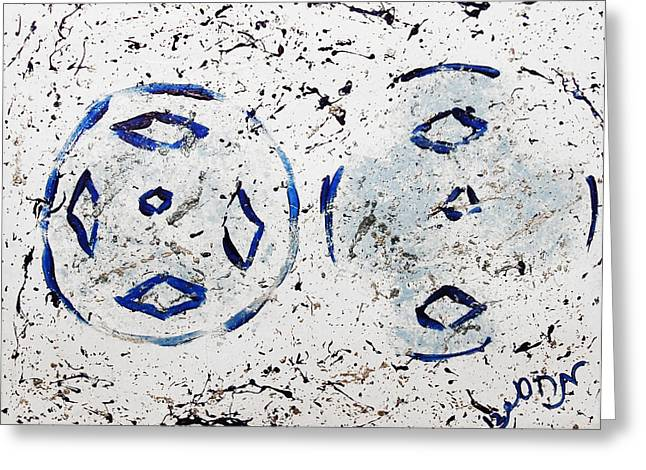 Greeting Card featuring the painting New Year Rolls Around With Abstracted Splatters In Blue Silver White Representing Snow Excitement by M Zimmerman