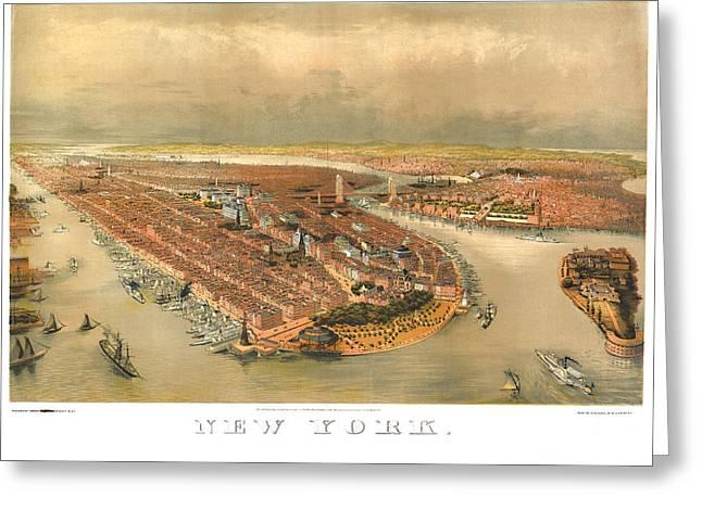 New York 1874 Greeting Card by Donna Leach