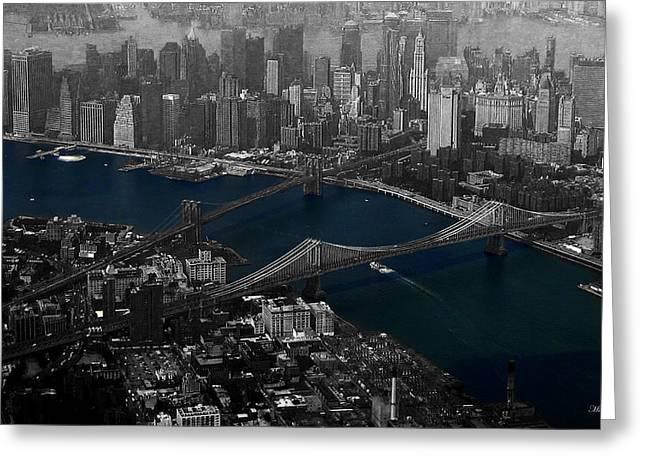 New York Aerial Greeting Card by Ms Judi