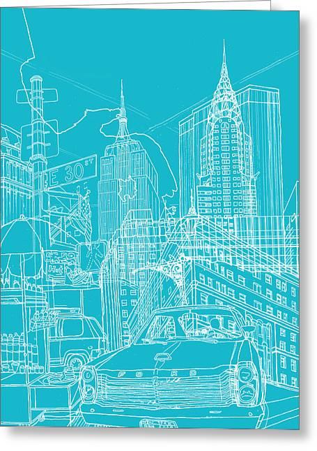 New York Blue Print Greeting Card by David Bushell
