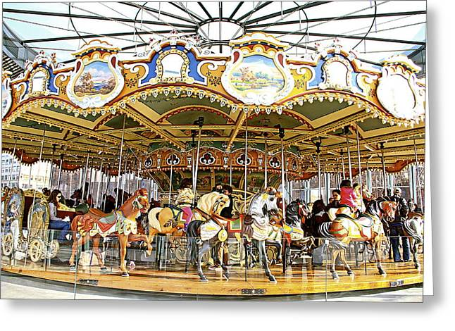 Greeting Card featuring the photograph New York Carousel by Alice Gipson