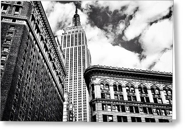 New York City - Empire State Building And Clouds Greeting Card by Vivienne Gucwa