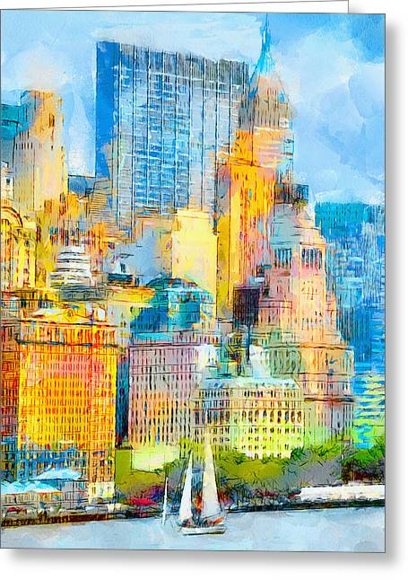New York City Harbour Greeting Card