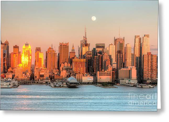 New York City Moonrise IIi Greeting Card by Clarence Holmes