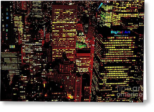 Greeting Card featuring the mixed media New York City by Rogerio Mariani