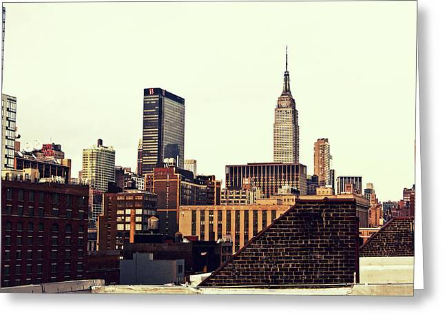 New York City Rooftops And The Empire State Building Greeting Card