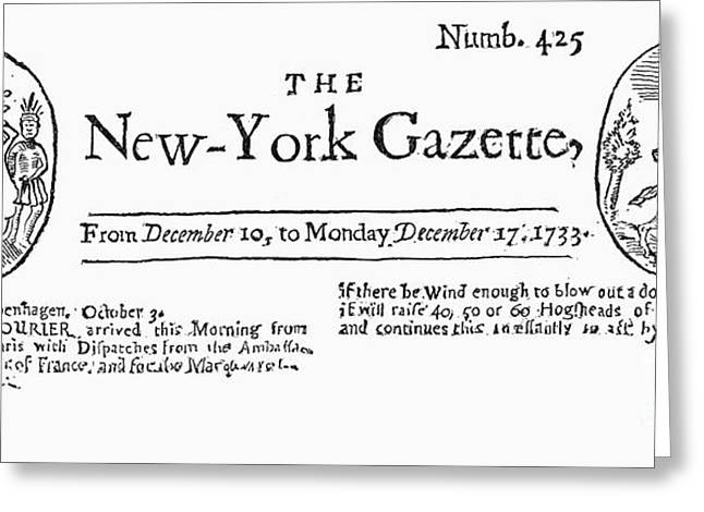 New York Gazette, 1733 Greeting Card by Granger