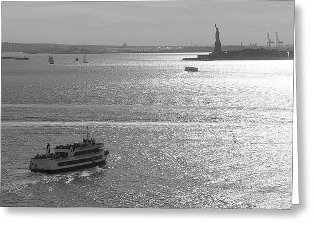 New York Harbor Greeting Card by Christian Heeb
