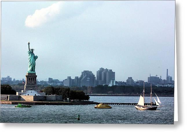 New York Harbor Greeting Card by Kristin Elmquist