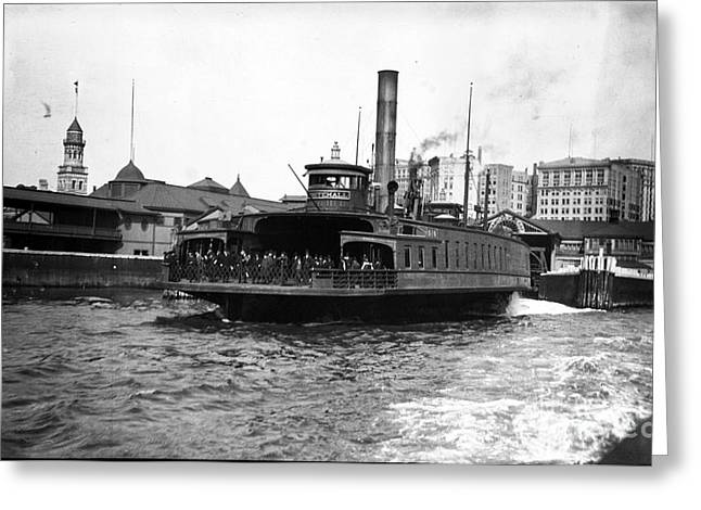 New York Harbour Steamship Whitehall Leaving Port A Summers Day In 1904 Greeting Card by Finn Trygvason Klingenberg