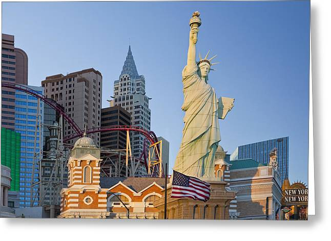 New York New York Hotel And Casino Las Greeting Card by Bryan Mullennix