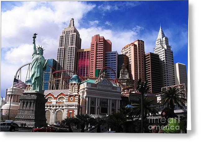 New York New York Hotel Greeting Card by Rachel Duchesne