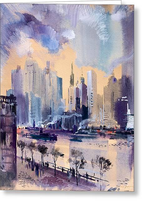 New York Greeting Card by Odon Czintos