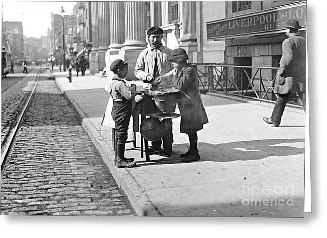 New York Peanut Stand On West 42nd Street 1903 Greeting Card