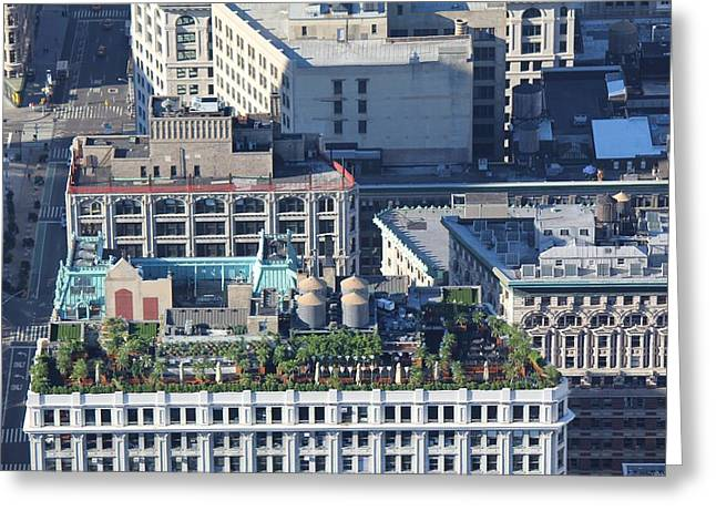 Greeting Card featuring the photograph New York Roof Garden by David Grant