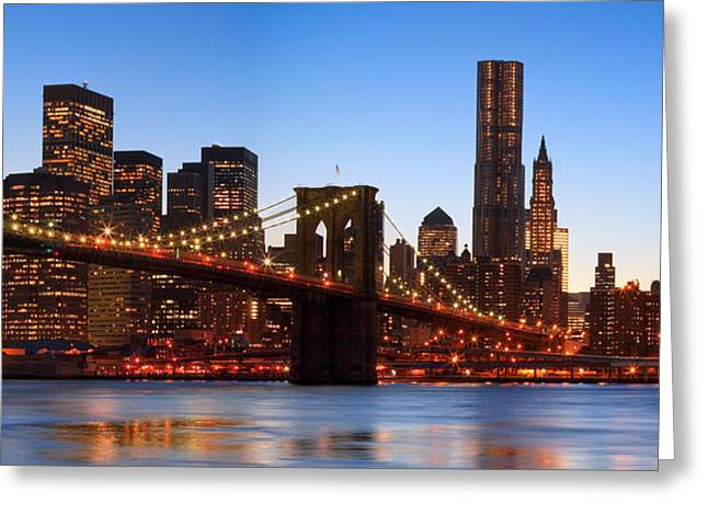 New York Twilight Greeting Card by Andria Patino