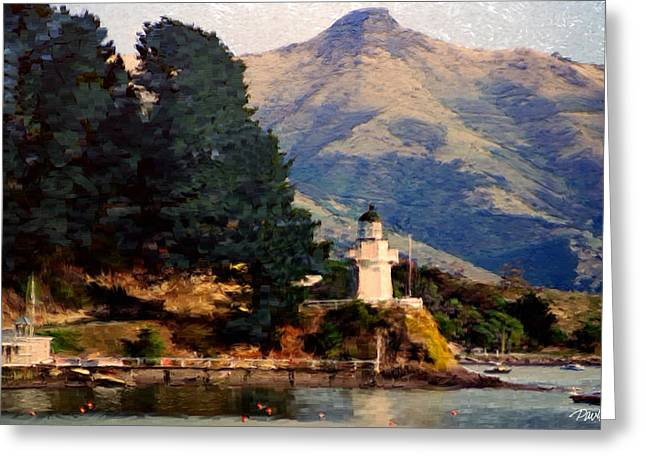 New Zealand Series - Akaroa Lighthouse Greeting Card by Jim Pavelle