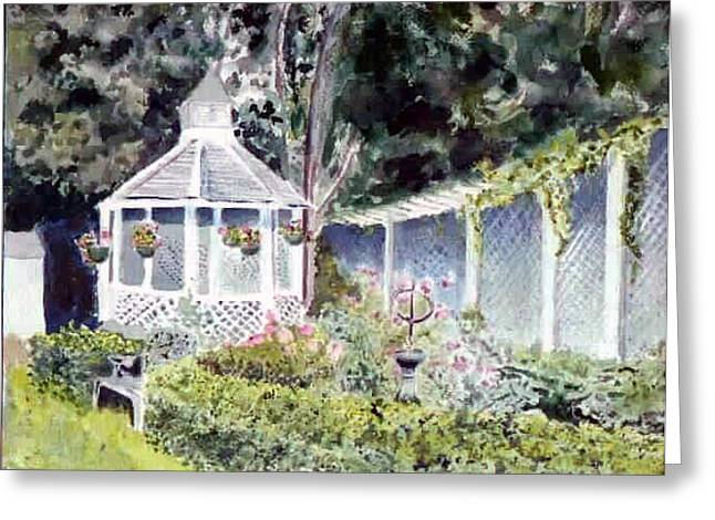 Newburyport Gazebo Greeting Card by Linda Pope