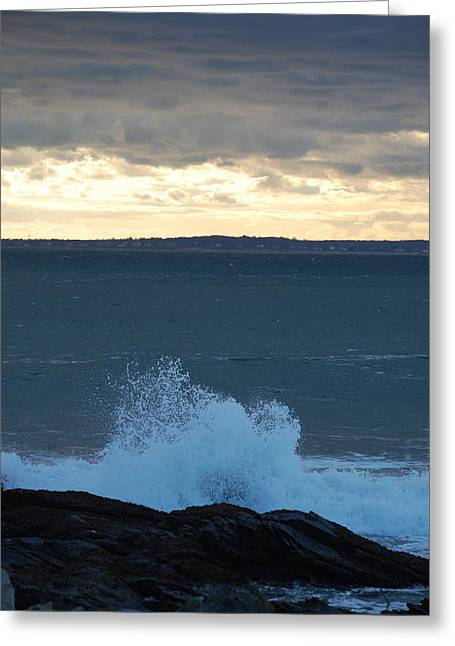 Newport Evening Waves Greeting Card by Dickon Thompson