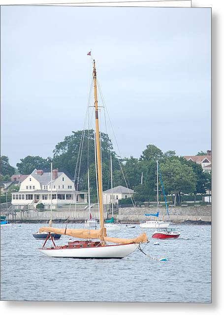 Newport Ri Wooden Sailboat Greeting Card