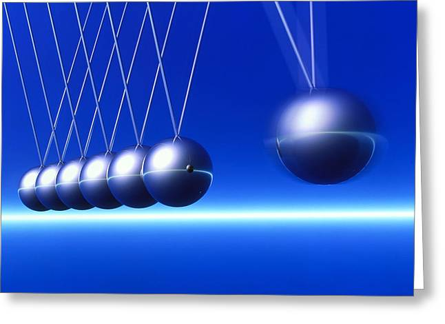 Newton's Cradle In Motion Greeting Card by Pasieka